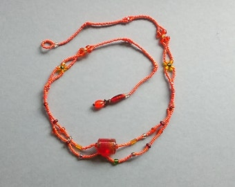 Flaming Orange  Necklace Woven Necklace Flower Necklace No Metal Necklace Bright Orange Jewelry
