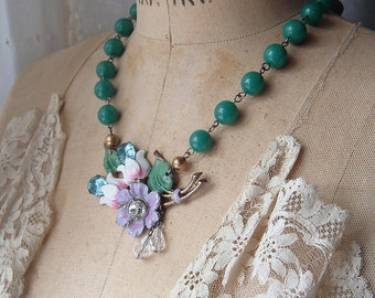 Assemblage Deco Enamel Floral Pot Metal Brooch to Necklace True Vintage Peking Glass Beads Spring Summer Happy Necklace
