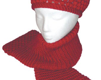 Raspberry Hat and Scarf to Crochet PDF Pattern Instant Download
