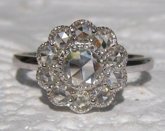 Rose Cut Diamond Engagement Ring, White Gold Daisy Engagement Ring with Milgrain Bezels