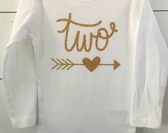 Gold Glitter Birthday Outfit // Second Birthday Shirt // Age Birthday // Two Birthday Shirt