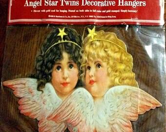 "Extra Large 10"" ANGEL TWINS CHRISTMAS Ornament Decoration New-Sealed B. Shackman We ship worldwide"