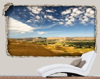 Three-dimensional hole with a spectacular view of blue sky and yellow fields | 3D Full Colour Wall Art Sticker