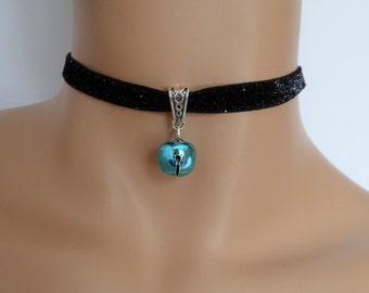 cat bell choker, black velvet choker, glitter necklace, elasticated ribbon, turquoise bell
