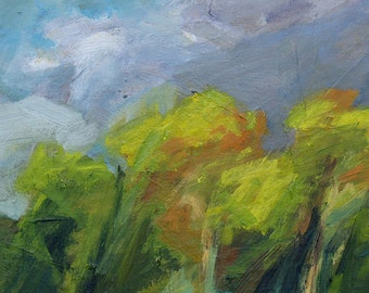 Late Summer GICLEE ART PRINT 8 x 11 abstract trees Pennsylvania storm lavender green yellow