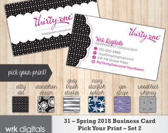 Thirty One Business Cards, Spring 2018 Prints - Set 2, Pick Your Print Custom Business Card, Direct Sales, Thirty One Consultant, PRINTABLE