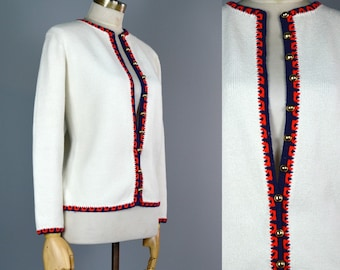 Vintage 60s Red White Blue Cardigan S M