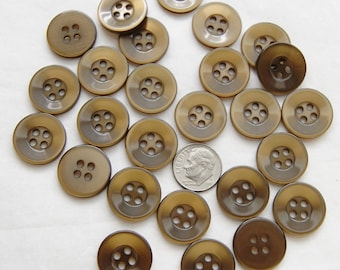 25 Brown Buttons , Brown Matching Shiny Buttons, 4 Hole, wide Rim  (AE 81)