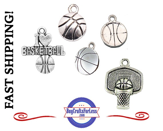 BASKETBALL Charms, Choose 6, 12 or 25 pcs +FREE Shipping & Discounts*