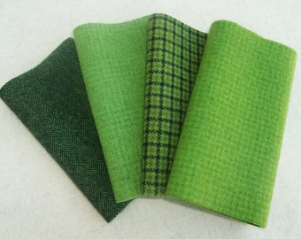 """Hand Dyed Felted Wool, LEAF, Four 6.5"""" x 16"""" pieces in Fresh Spring Green, Perfect for Rug Hooking, Applique and Crafts"""