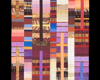 """Art Quilt, Quilt Art, Wallhanging. Rising #30 - Grain Grower. 48""""H x 23""""W. Pieced and quilted in 100% cotton, hanging sleeve."""
