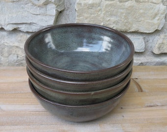 Pottery Bowls, set of four handmade pottery bowls in Iron Luste glaze