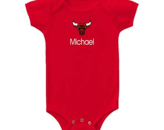 Personalized Chicago Bulls Baby Bodysuit Red