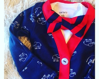 Cardigan Onesie, Brothers matching set, Cardigan and Bow tie set, Boys Bow tie