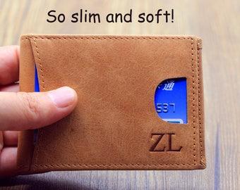 Men's Leather Wallet; Custom Money Clip; Personalized Wallet; Money Clip wallet; Mens Personalized Leather Money Clip; Christmas Gift
