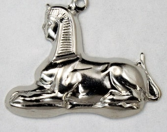 25mm Silver Seated Sphinx Charm Set (2 Pcs)  #2170
