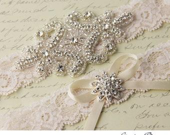 Ivory Lace Garter Set, Wedding Garter Set, Bridal garter Set, Rhinestone Garter, Ivory Garter, Crystal Garter