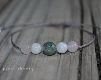 Moss Agate Bracelet, Moonstone Bracelet, Rose Quartz Bracelet, Love Meditation Bracelet, Good Luck, Minimalist Jewelry, Yoga Bracelet