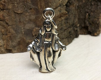3D Sterling Silver Virgin Mary Bracelet Charm, Religious, Church, Christian, Catholic, Mother, .925 Silver, DIY, Charms, (C274)