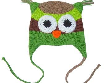 Boys crochet owl hat . Winter hat . Merino wool. Reflects in the dark