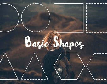 Basic Shapes Overlays / Templates - Circle, Square, Triangle, Hexagon PNG & PSD files on Instant Download