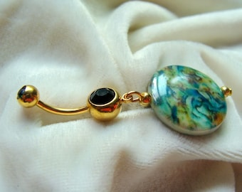 Sea Wave Mother of Pearl Belly Ring - WOW!
