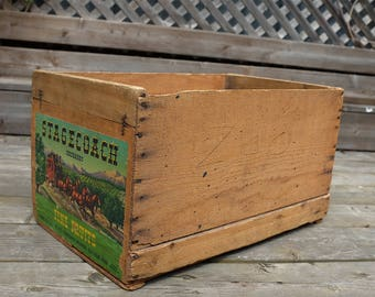 Vintage Fruit Crate - Antique fruit box - vintage apple crate - fruit crate with paper label  -  wood fruit crate - Wood Crate Storage