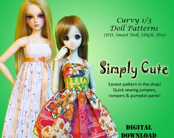 Simply Cute Dress easy sewing clothes pattern for Curvy 1/3 60cm BJD: SD, SDGR, Dollfie Dream, Smart Doll, dd