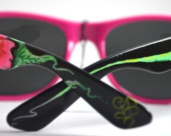 Pink Hibiscus - Hand Painted Wayfarer Sunglasses with pink frame front