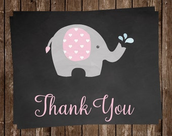 Chalkboard, Elephant Thank You Cards, Baby Shower, Birthday, Pink, Girls, Gray, Balloon, 20 Folding Notes, FREE Shipping, CKELSPK, Sprinkle