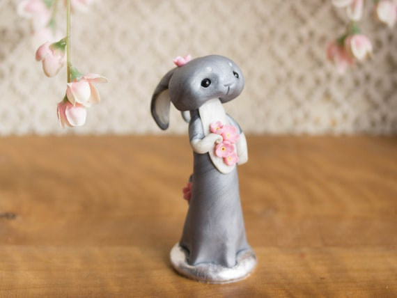 Wishing Rabbit - Grey Rabbit Figurine