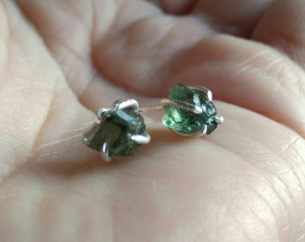 Green Apatite Rustic Earrings - Uncut Rough Apatite Earrings - Sterling Silver Stud Post Earrings