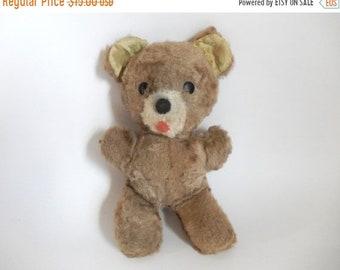 "Sale - Mid Century Brown Teddy Bear Stuffed Animal Toy - 9.5"" tall"