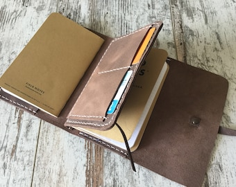 Leather Field Notes Cover Wallet, Moleskine Pocket Cover with Leather Insert, Brown Distressed Italian Leather