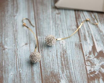 Spiral swaying crystal pavé ball earrings, gift for her, party style