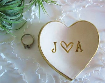 Ring holder, Personalized heart dish, engagement gifts for best friend, Wedding gift, heart jewelry dish, commitment ceremony