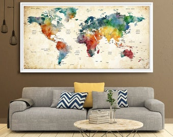World Map Push Pin, Large world map poster living room decor,push pin travel map, push pin map, world map wall art, art print (L80)