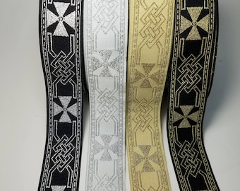 Celtic Cross Metallic Woven Fabric Trim 1 1/4 inch Sold by the Yard or 5 yards