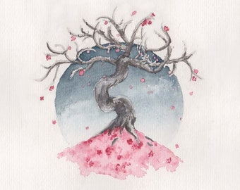 fruit&bone: Blossom 2, watercolour cherry blossom tree digital print