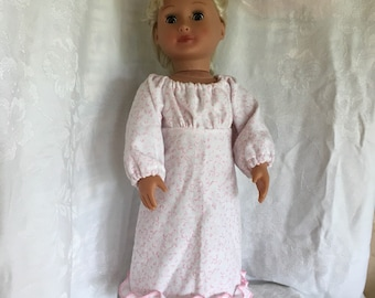 Sweet dreams ,pink nightgown with ruffle around the bottom is made for American girl doll and other 18 inch dolls
