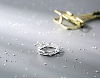 geometric design, silver-plated ring, graduation gift, birthday gift