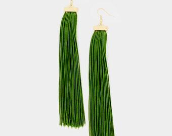 Olive Green Long Tassel Earrings