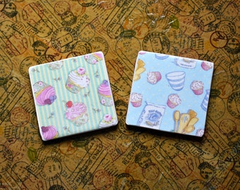 Cupcake handmade tile coasters set of two