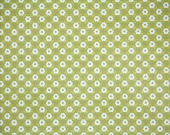 Retro Wallpaper by the Yard 70s Vintage Wallpaper - 1970s Tiny White Flowers on Green