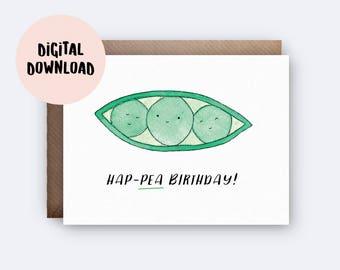 Printable Card | Hap-Pea Birthday | Digital Download | Pea Pun Card | Happy Birthday Card for Boyfriend | Girlfriend | Cute Funny Pun Card