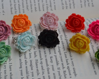 Multi Colored Rose Cabachon Rings