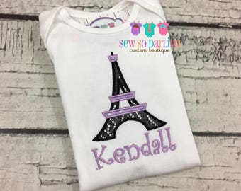 Eiffel Tower Outfit - Paris Baby Set - Personalized Baby Clothes - Baby Girl Paris Shirt - purple paris baby clothes - Eiffel tower baby