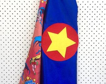 Kids Superhero Cape - Blue with Superheroes
