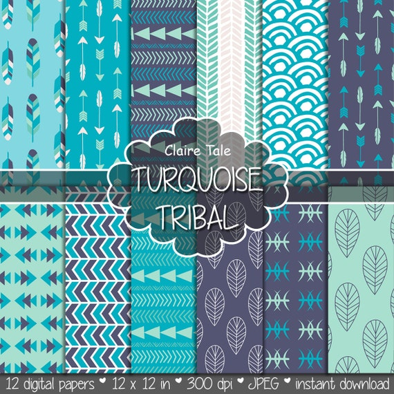 "Tribal digital paper: ""TURQUOISE TRIBAL"" with tribal patterns and tribal backgrounds, arrows, feathers, leaves, chevron in turquoise"