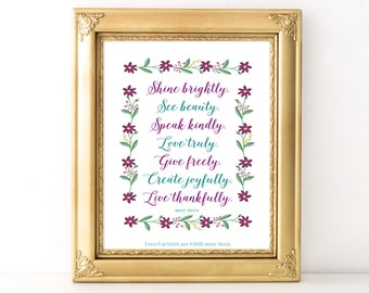 Shine Brightly Script Print / Every Day Spirit / Inspirational Quote / Wall Art / Words of Wisdom / Encouragement / Gratitude / Dorm Decor